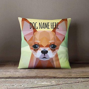 Personalized Geometric Chihuahua Dog Pillowcase | Decorative Throw Pillow Cover | Cushion Case | Designer Pillow Case | Gift for Pets Lovers