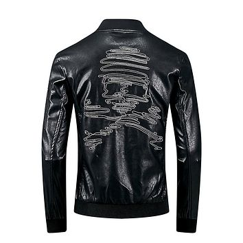 Men's Skull Embroidery Leather Motorcycle Casual Jacket
