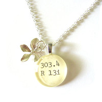 Sterling Silver Orchid Library Necklace Dewey Decimal Charm by The Written Nerd