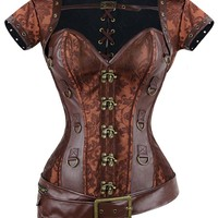Atomic Brown Steampunk Faux Leather Belt Corset