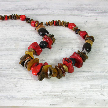 Red Coral Necklace ,  Raw Dark Baltic Amber Necklace, Tribal , Natural Baltic Amber  , Rough Stone , Earthy Colors , Eco Rustic