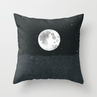 Grey Moonscape Throw Pillow by Amelia Senville