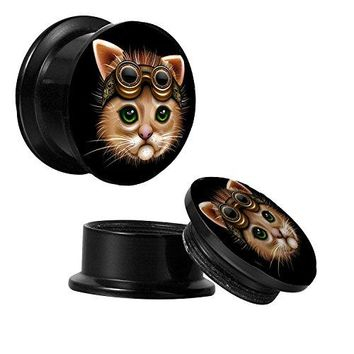 BodyJ4You Screw Fit Plugs Steampunk Cat 6G-14mm 2PC