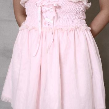 Japan Cutie Gyaru Princess Empire Hi Waist Ruched Cinch Corset Tutu skirt Pink