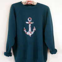 Floral Print Anchor Crewneck Sweatshirt - Large
