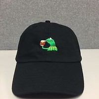 KERMIT TEA Hat (slide buckle) none of my business emoji king lebron james meme