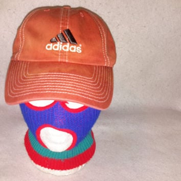 Vintage Adidas Strapback burnt orange Golf cap Curved brim Dad hat Yeezy Ultra Boost NMD superstar Tubular