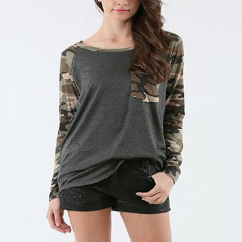 Camouflage Slim Patchwork With Pocket T-shirts [10467452308]