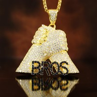 Iced Out Brothers For Life Bros Fist Pendant Box Chain