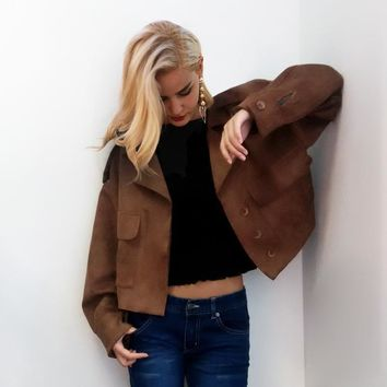 New Women Long Sleeve Oversized Button Front Faux Suede Motorcycle Jacket