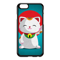 Kawaii Maneki Neko Black Hard Plastic Case for iPhone 6 by DevilleArt