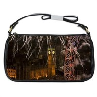London New Years Eve Fireworks Handbag Shoulder Bag Black Leather