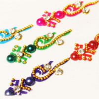 Long Red, Green, Pink, Blue Color Binidis, Craft Bindis, Self Adhesive Bindis, Forehead Jewelry Decorations for Makeup.