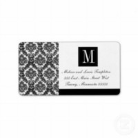 Black and White Damask Wedding Monogram Custom Address Label from Zazzle.com