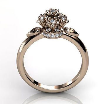 14k rose gold diamond flower bouquet unusual unique floral engagement ring, bridal ring, wedding ring ER-1037-3