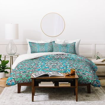 Ingrid Padilla Inked Whimsy In Blue Duvet Cover