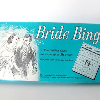 Vintage 1950's Bride Bingo Game, Bridal Shower Game, Vintage Bingo, Mid Century