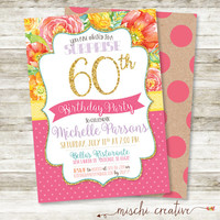 "Glittery and Glam Vintage Flowers, Lace and Dots 60th Birthday Party DIY Printable Invitation in Pink, Yellow, Coral and Purple, 5"" x 7"""