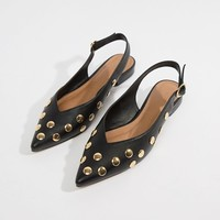 ASOS DESIGN Lasca high vamp studded pointed ballet flats at asos.com