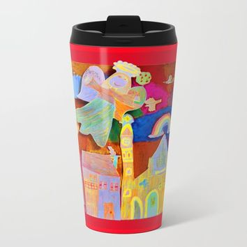 Rainbow Angel Metal Travel Mug by Azima
