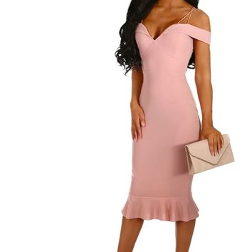 Love In Paradise Pink Bardot Frill Hem Midi Dress