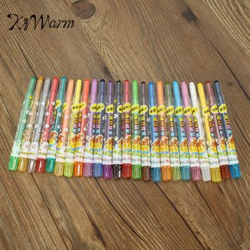 KiWarm Newest 24 Colors Set Washable Erasable Rotating Crayon Pastel Art Drawing Set Safe Children's Wax Crayon Pen Student Gift
