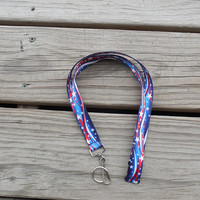 Patriotic Lanyard/ Safety Breakaway Lanyard/ Star Spangled ID Badge or Cell Phone Key Holder