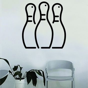 Bowling Pins Wall Decal Decor Art Sticker Vinyl Room Bedroom Home Teen Inspirational Sports Bowl Alley Lane