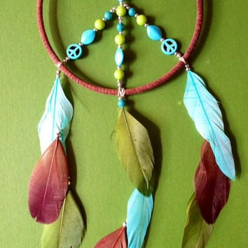 Dream Catcher - Peace - Hippie - Green, Brown, Tiffany Blue