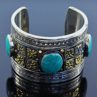 Afghan Turquoise Coin silver Cuff bracelet,Kuchi jewelry,Wide bracelet,Afghan Turquoise,Handmade bracelet,Gypsy jewelry,Gift for her