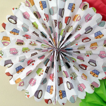Cupcake Tissue paper Fans // nursery decor // pomwheels // tea party decor // childrens birthday// party decorations//Birthday Decoration