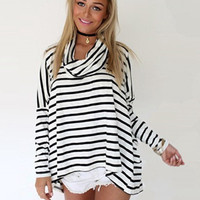 'The Jaen'  High Collar Stripe Batwing Sleeve Loose T-Shirt