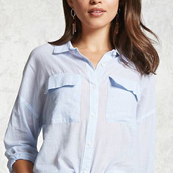Pinstripe Button-Front Shirt