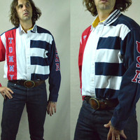 Vintage 1990's Tommy Hilfiger Patch Work Flag Button Up Dress Shirt