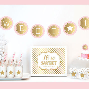 Gold & Glitter Sweet 16 Party Kit