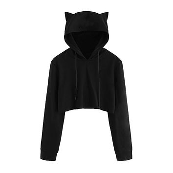 Crop Tops Solid Cat Ear Long Sleeve Cropped Sweatshirt Hooded Pullover