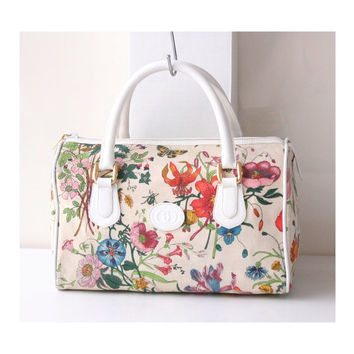 Gucci bag Flower Canvas Boston Tote Vintage Authentic Handbag