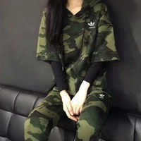 VONE05 Adidas Fashion Knitting Long-sleeves Camouflage Hooded Pullover Pants Leisure Sportswear Two pieces Set