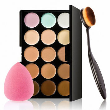 Makeup Concealer Palette 15 Colors Contour Face Cream Sponge Puff Powder Brush Color Multicolor