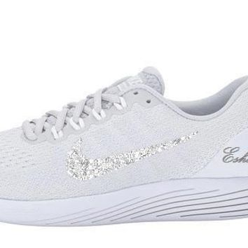 Cool Gray Nike LunarGlide 9 Glitter Running Shoes