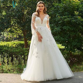 Dressv Long Wedding Dresses V Neck Long Sleeves A Line Appliques Backless Tulle Elegant Garden Church Custom Wedding Dresses
