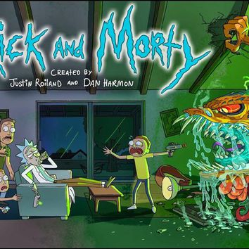 "Rick And Morty TV Animation Fabric poster 40 x 24"" 21 x 13""Decor -07"