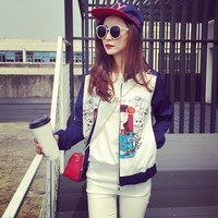 Korean version of the doll clothes printing casual baseball jacket