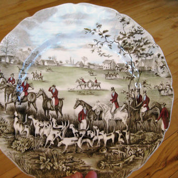 Johnson Brothers Tally Ho The Meet Hunting Scenes Dinner plate, Very good