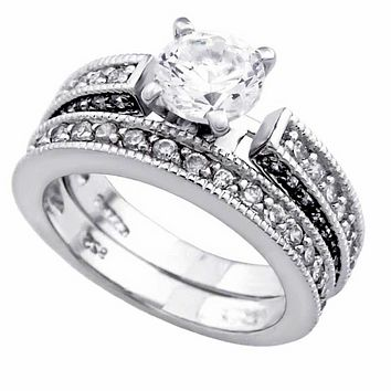.925 Sterling Silver Antique Style Pave Set Wedding Ring Set Ladies Size 5-9 Solitaire with Accents