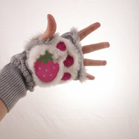 Super Kawaii Hand warmers with strawberry paw prints ( made to order )