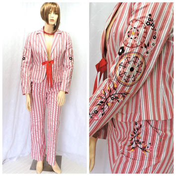 Vintage nautical pants suit L embroidered whimsical striped blazer / pants size 14 Oilily casual weekend wear pants suit SunnyBohoVintage