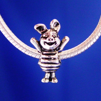 Piglet Winnie the Pooh Disney European Charm Bead Jewelry Girls Silver Plated designed to fit your  Bracelet or style