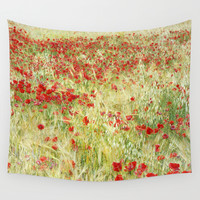 Abstract poppies Wall Tapestry by Guido Montañés
