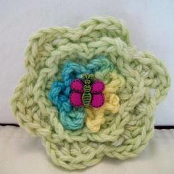 Lime Green Crochet Flower Hair Clip Barrette Aqua Floral Bee Fashion Accessories For Her
